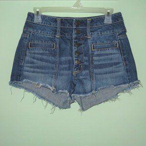 American Eagle High Rise Festival Dark Jean Shorts